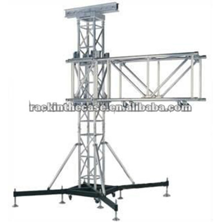 Stage lighting truss with elevator tower system
