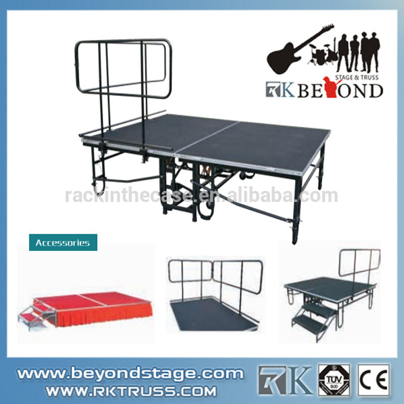 Used folding aluminum portable stage for rental