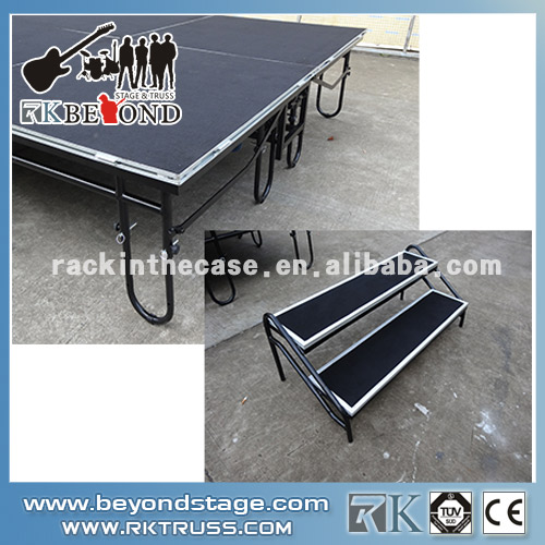 Adjustable portable folding stage wiht steps