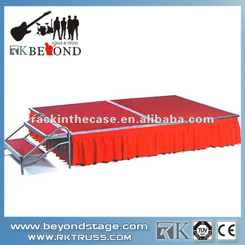 Red stage skirt and step for aluminum stage