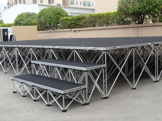 Stage risers for building a portable stage