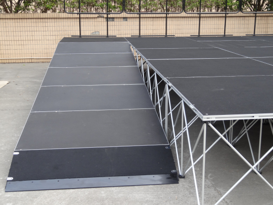Stage ramps and stage guardrails for portable stage design