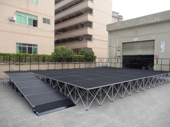Portable stage design with stage ramps rental