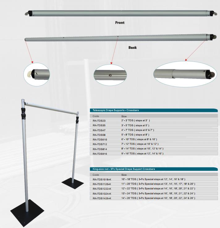 RK Pipe And Drape Telescopic Aluminum Crossbar