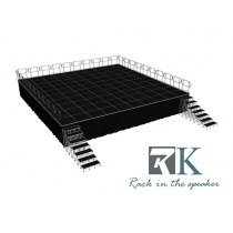 Stable beyond mobile portable stage with handrail