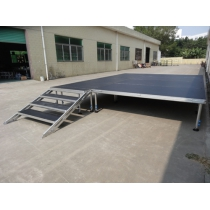 Stable aluminum beyond mobile portable stage with handrail