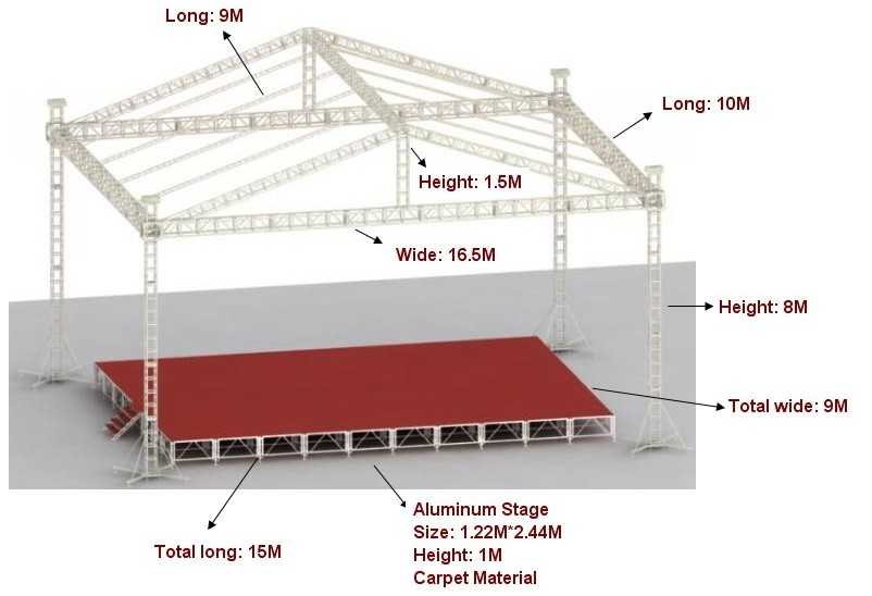 Global truss for dj equipment/triangle truss for line array